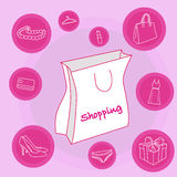 White shopping bag. With different accessories Stock Images