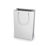 White shopping bag  on white Royalty Free Stock Image