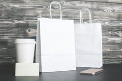 Free White Shopping Bags And Coffee Closeup Stock Photos - 93182063