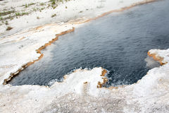 White Shores of Sulfur. This was a hot spring at Yellowstone National Park. The ground around the pool isn`t snow, but the crust that the minerals inside the Royalty Free Stock Photography