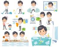 White short sleeved men_housekeeping. Set of various poses of White short sleeved men_housekeeping Stock Photo
