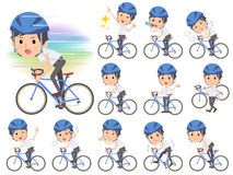 White short sleeved shirt business men on rode bicycle. Set of various poses of White short sleeved shirt business men on rode bicycle Royalty Free Stock Photography