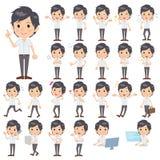 White_short_sleeved_shirt_business_men. Set of various poses of White short sleeved shirt business men Royalty Free Stock Photos
