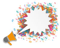 White Shout Speech Bubble Megaphone Percents Royalty Free Stock Photography