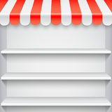 White Showcase with Red Awning. White blank showcase with empty shelves and red store awning Royalty Free Stock Photography