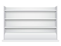 White Showcase wiyh Empty Shelves Stock Photo
