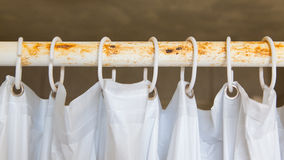 White shower curtain in the bathroom Royalty Free Stock Image