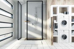 White shower with washing machines. A white and wooden bathroom interior with a shower, a closet with two washing machines and an originally shaped window. 3d Royalty Free Stock Photos