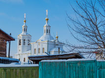 White Siberian Church Royalty Free Stock Photography