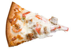 White Sicilian Pizza Slice. A single slice of white sicilian pizza with sausage royalty free stock photo