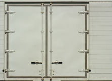 White side door of container truck Stock Photo