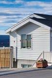 White Siding Icelandic House. At Sunny Day. Vertical Shot Stock Photography