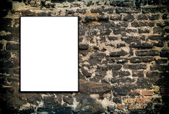 White sign on brick wall Stock Photos