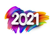 2021 sign on colorful brush strokes background