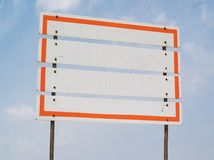 White sign, free copy space. Empty sign, white planks, with red border, free copy space Royalty Free Stock Photos
