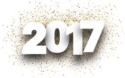 2017 background with golden sand. 2017 white sign with golden sand background. Vector paper illustration Royalty Free Stock Images