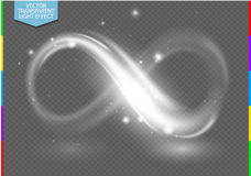 White sign neon light line infinity symbol transparency in additional format only. Glow isolated on transparent background with spark. Vector light special vector illustration