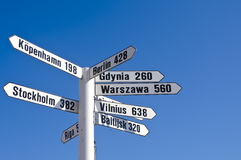 White signpost. A white signpost in Karlskrona harbor, Sweden, showing distances to some of the most important cities of the Baltic Sea stock image