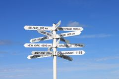 White signpost with many destinations against a blue sky. Signpost in the North of Scotland with destinations Belfast, Amsterdam, Cape Wrath, Rome, Cardiff royalty free stock photo