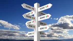 White Signpost With Rome City Name Stock Photo