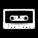 White silhouette of audio cassette on black background. vector illustration Royalty Free Stock Images