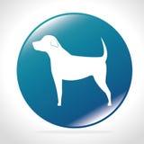 White silhouette big dog blue button icon design Stock Image