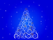 White silhouette christmas tree on blue sky Stock Photo