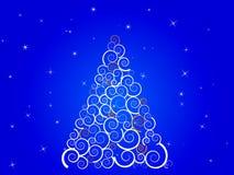 White silhouette christmas tree on blue sky. Vector Illustration Stock Illustration