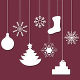 White Silhouette of a Christmas Tree Decorations Royalty Free Stock Photos