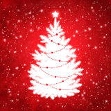 White silhouette of Christmas tree Stock Images