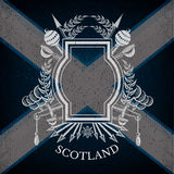 White silhouette Coat of Arms With Frame and Vintage Weapons on Scotland Flag Background Stock Photos