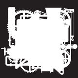 White silhouette of the complex fantastic machine on black Royalty Free Stock Photos