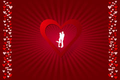 White silhouette of a couple in red valentine card Stock Photography