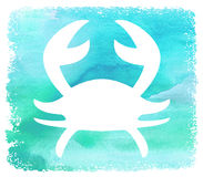 Beach Art White Silhouette Crab on Blue Watercolor Background Poster. White Silhouette Crab on Blue Watercolor Background Art Design Poster Stock Images