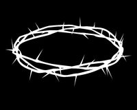 White silhouette of a crown of thorns. On a black background Royalty Free Stock Photography