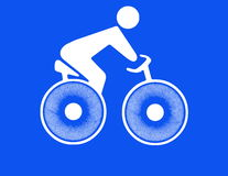 White silhouette of cyclist on blue Royalty Free Stock Photography