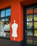 White silhouette of the dummy on the red wall Royalty Free Stock Photo