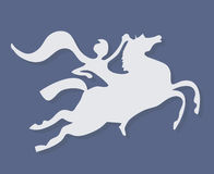 White silhouette of fantasy horse rider. With scarf on purple background Stock Photos