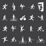 White silhouette figures of athletes popular. White silhouettes figures of athletes popular sports Stock Photo