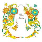 White silhouette girl in yoga lotus pose on floral background Royalty Free Stock Photos