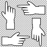 White silhouette of hand with pointing in various directions finger. White silhouette of hand with pointing or showing in various directions finger. Vector set Stock Photos