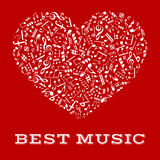 White silhouette of a heart with musical notes Royalty Free Stock Photo