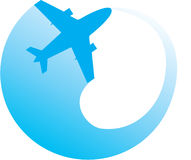 White silhouette of jet airplane. Vector image of white silhouette of jet airplane Stock Photo