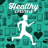 White silhouette man running healthy lifestyle sport icons background. Vector illustration Stock Image