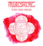 White Silhouette Of  The Root Chakra On Red