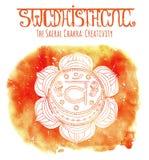 White Silhouette Of The Sacral Chakra On Orange