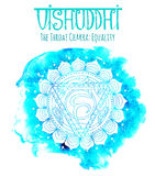White Silhouette Of The Throat Chakra On Blue
