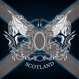 White Silhouette ofCoat of Arms With Centaurs and Vintage Weapons on Scotland Flag Background Royalty Free Stock Photo