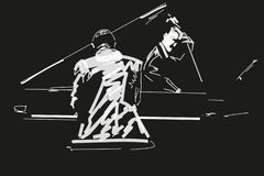 White silhouette of pianist and bass player on black background. vector illustration