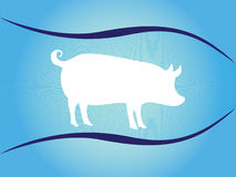 White silhouette of pig on blue background with waves Royalty Free Stock Photo